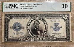 1923 5 Silver Certificate Lincoln Porthole Fr282 Pmg 30 Currency Note
