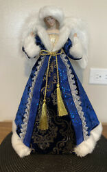Porcelain Angel Tree Topper, White, Blue Silver, And Gold Dress, Feather Wings