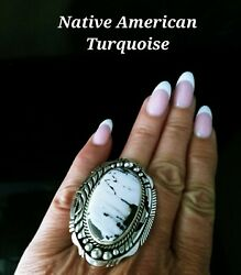 Native American Navajo Signed Size 8 White Buffalo Turquoise And Sterling Ring