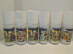 """The Flintstones Glasses """"the First 30 Years"""" Vintage Hardee's Lot Of 6"""