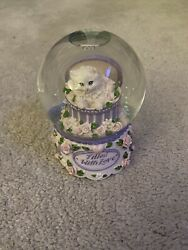 Vintage San Francisco Music Box Company Snow Globe Cat Flowers Filled With Love