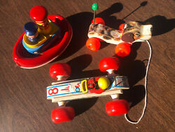 1960's Fisher Price Lot - 8 Bouncy Racer, Tuggy Tooter And Little Snoopy Freeship