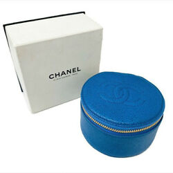 Caviar Skin Pouch Accessory Case Bl Blue Leather Vintage 6x10 Used Auth