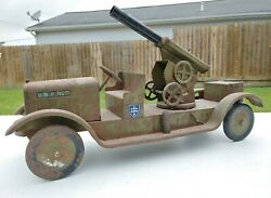 Antique 1920s Usa Military Artillery Truck Pressed Steel Son-ny Dayton Toy Rare