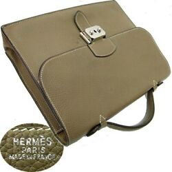 Hermes Sac A Depeches 27 Briefcase Bag Etoupe Taurillon Clemence Leather Taupe