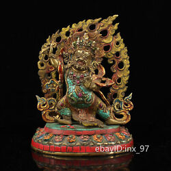 10.8 China Tibet Old Pure Copper Seiko Painted Gilt Vajra Hand Guardian Statue