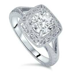 1 1/15ct Solitaire Diamond Engraved Engagement Ring 14k White Gold Enhanced