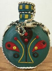 Vtg Handmade Leather Braided Beaded Covered Glass Flask Canteen Red Green Black