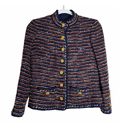 Rare 1960s Couture Tweed Wool Navy Blazer S Gold Buttons