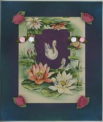 Vintage Collage Pastel Swan Lily Pads Lotus Flowers 1950s Card Picture Art Print