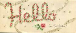 Vintage H E L L O Roses Alphabet Letters Hello Birthday Music Note Greeting Card