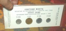 Russia 1957 Mint Coin Set Ussr Soviet Uncirculated Russian Four Coins Proof Like