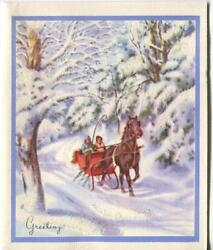 Vintage Christmas Glitter Victorian Horse Sleigh Snow Winter Trees Greeting Card