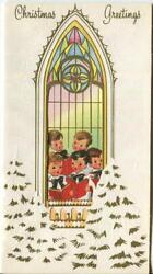 Vintage Christmas Gold Trees Stained Glass Window Choir Boys Sing Greeting Card