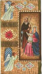 Vintage Christmas Angels Ecclesiastical Church Windows Holy Family Greeting Card