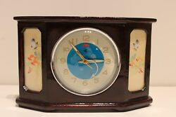 Vintage Very Rare China Desk Alarm Wooden Clock With Military Fighter Aircraft