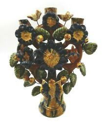 Vintage Mexican Folk Tree Of Life Pottery Flower And Bird Design 3 Candle Holder