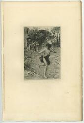 Antique Primitive Man Loin Cloth Woman Running Trees House Distressed Old Print