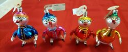 Vintage Set Of 3 Mercury Glass Duck Christmas Ornament 4 1/2 Made In Poland Nwt