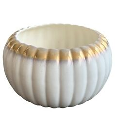 Bauer Pottery Planter Pumpkin Bowl White And Gold Mid Century