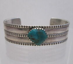 Perry Shorty Navajo Coin Silver Bracelet With Fox Turquoise