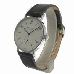 Nomos Glashutte Tangente Manual Menand039s Watch Silver Dial Black Leather Belt Good