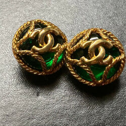Earrings Gold Plated Round Cc Logo Green Stones Clip-on 95a Vintage W/box