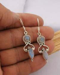 Natural Rainbow Moonstone Solid 925 Sterling Silver Designer Dropanddangle Earring