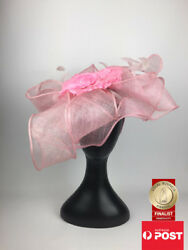 Scala Sinamay Fascinator Melbourne Cup Statement Pink Floral Party Fashion Hat