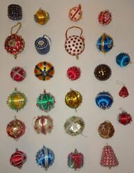 Vintage Beaded Sequin Push Pin Hand Made Satin Ball Christmas Ornament Lot Of 27