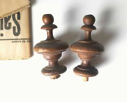 2 Antique Wooden Post Finials Turned Wood For Bed Grandfather Clock Pediment