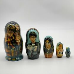 Harry Potter Wooden Russian Nesting Dolls Hand Painted Set Of 5 Dolls Signed