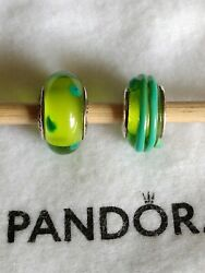 2 Authentic Pandora Murano Glass Charms Green Ribbon And Green Polka Dots Retired