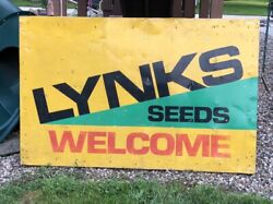 Vintage Lynks Seeds Welcome Large Double Sided Sign In Wood Frame Old Farm Ag