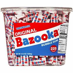 Bazooka Individually Wrapped Bubble Gum Original 225 Count Pack Of 1