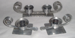 3 Piece Bb Buenilum Hand Wrought Hammered Aluminum Candle Holders Arts And Crafts