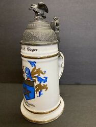 German Beer Stein With Nude Litophane, Pewter Lid, Eagle Finial, Lion Thumbpress