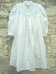 Vintage Eileen West Queen Anneand039s Lace Long Sleeve Nightgown Petite White Cot Euc