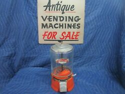 1930and039s Orange Porcelain Victor Special Deluxe One Cent Vending Machine