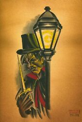 The Ripper By Charlie Coffin Man Crescent Moon Lamp Tattoo Wall Art Poster Print