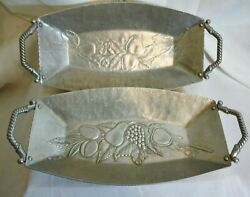 Vintage Fruit Grape Motifs Forged Aluminum Bread Tray Set Of Two Rope Handles