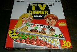 Vintage 1976 Fleer Crazy Tv Dinner Candy Full Store Display Box 24 Containers