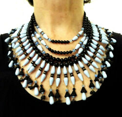 Colossal Ultra Rare Miriam Haskell Signed Black And Periwinkle Blue Glass Necklace