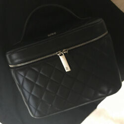 Vanity Case Black Lambskin Leather Matelasse Cc Logo Bag Pouch With Card
