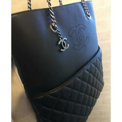 Tote Bag Black And Blue Leather Cc Logo Matelasse Silver Chain Strap Charm
