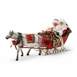 Dept 56 One Horse Open Sleigh Santa And Mrs Claus Possible Dreams Christmas Figure