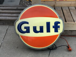 Original Vintage Gulf Gas Station Sign Oil Old Advertising Car Auto Mancave