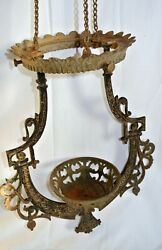 Antique 1800s Bradley And Hubbard Iron Horse Hanging Oil Lamp Holder