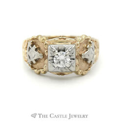 .50ct Diamond Solitaire Masonic Ring In 14kt White And Yellow Gold