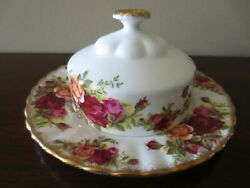 Vintage Royal Albert Old Country Roses Covered Dome Butter Dish